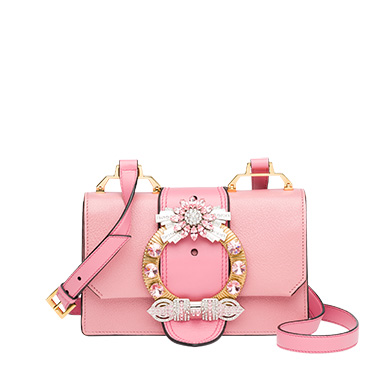 92506cee986d Miu Miu Crystal-Embellished Madras Leather Shoulder Bag In Pink ...