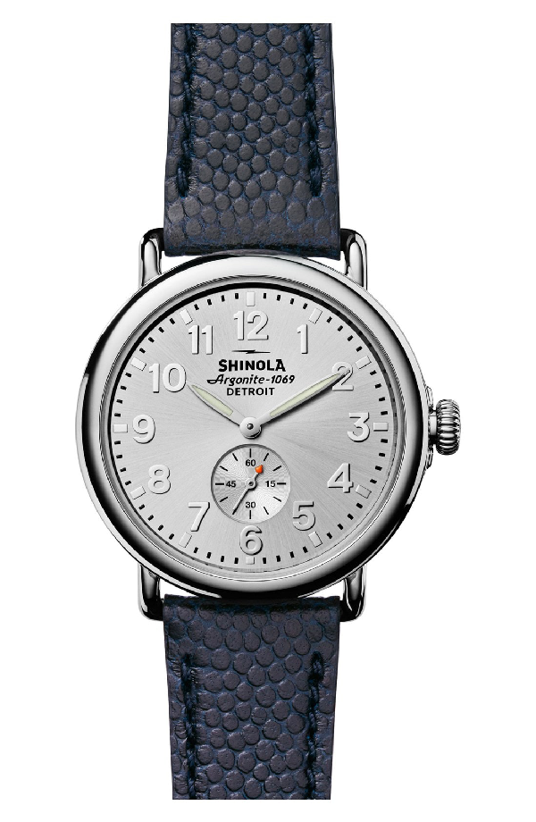 Shinola Men's 41Mm Runwell Men's Textured Leather Watch, Silver/Navy In Blue/ Silver