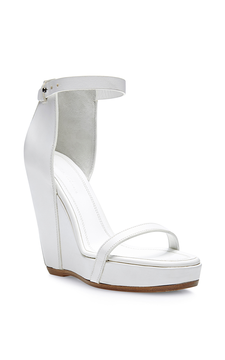 Rick Owens Web Wedge Leather Sandals In White