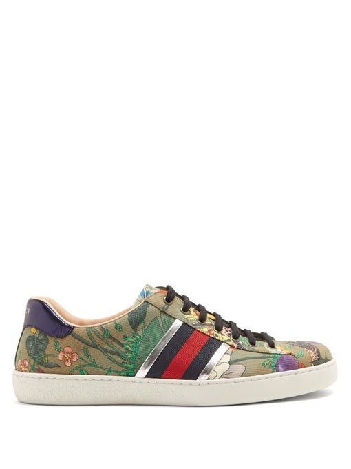 Gucci Ace Leather-trimmed Printed Canvas Sneakers - Green In Green Multi
