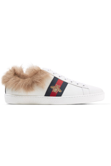 567eb832293 Gucci Women s New Ace Leather   Lamb Fur Lace Up Sneakers In White ...