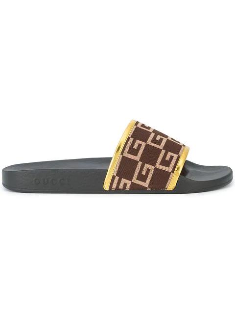 Gucci Pursuit Knit Slide Sandals - Med. Brown, Gold In 2165/Brown