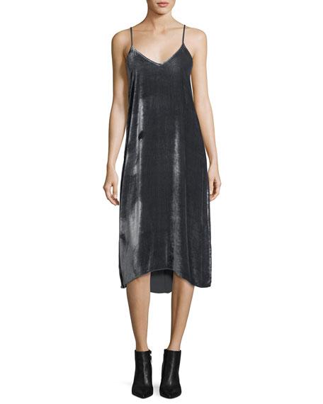 Atm Anthony Thomas Melillo V-Neck Drapey Velvet Camisole Midi Dress In Gray