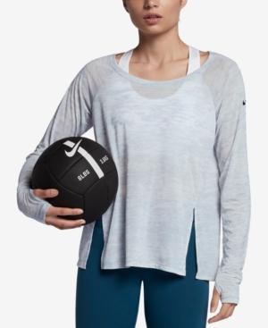 Nike Split High/Low Hem Top In Wolf Grey/Black