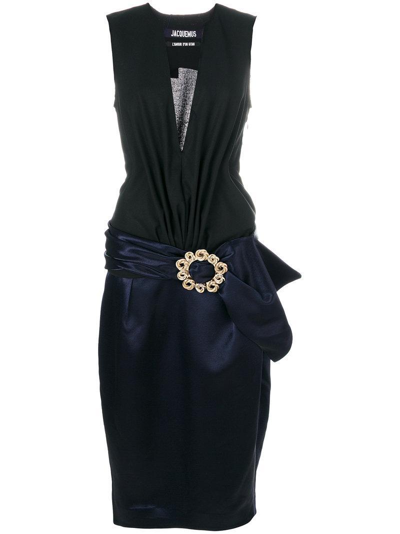 Jacquemus V Neck Dress In Black/navy