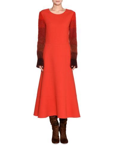 Agnona Colorblock-Sleeve Wool Dress In Orange Pattern