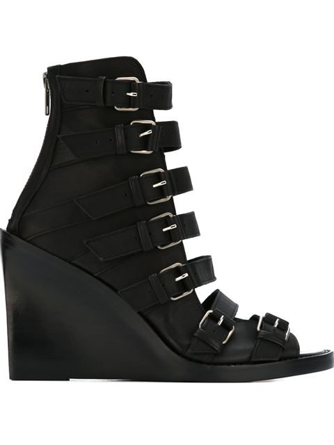 Ann Demeulemeester Leather Buckle Sandals In Black & Silver.