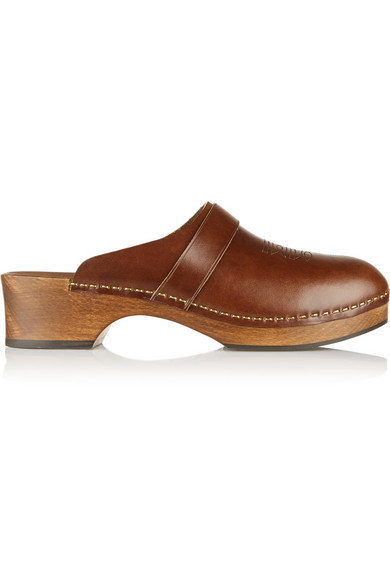 Saint Laurent Sabot Leather Clogs In Brown