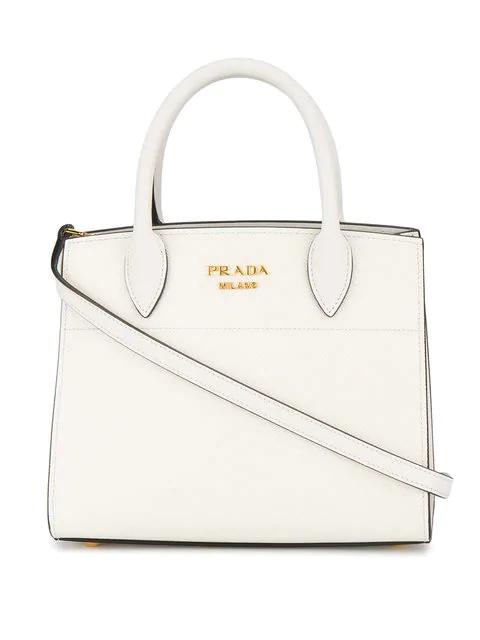 9d30381b348e Prada BibliothÈQue Small Saffiano-Leather Cross-Body Bag In White ...
