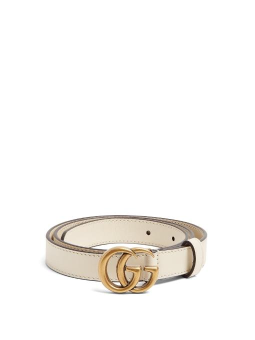 416bd4d8a Gucci Gg-Logo 2Cm Leather Belt In Cream | ModeSens