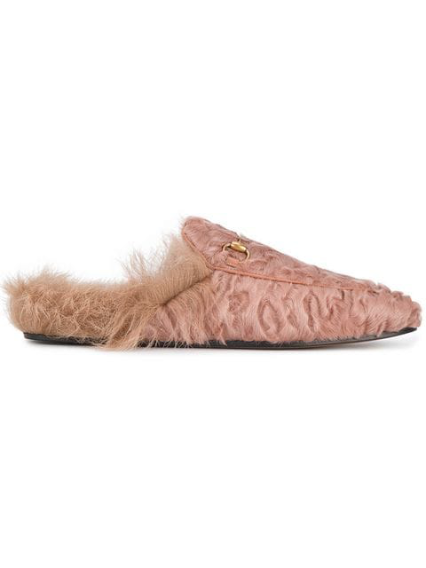 76b4e15f23f Gucci - Princetown Shearling Lined Fur Loafers - Womens - Light Pink ...