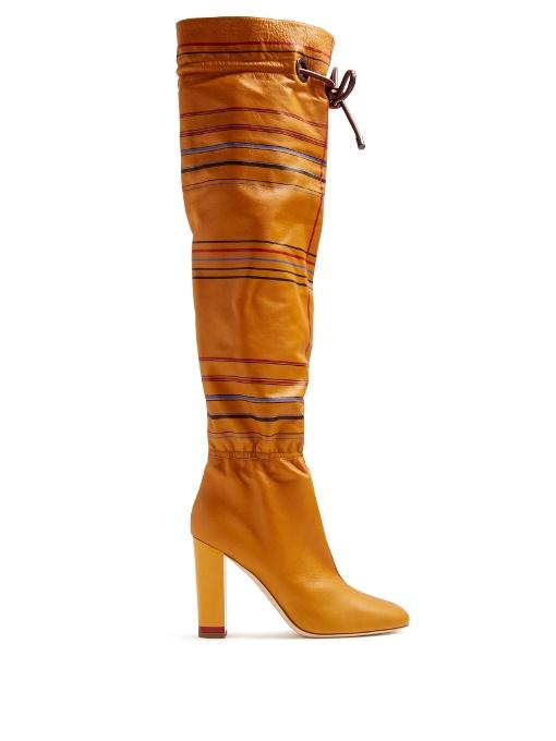 Malone Souliers X Roksanda Kendas Striped Leather Boots In Honey-Brown