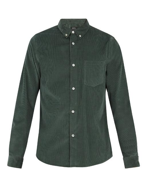 A.p.c. Kae Point-collar Cotton-corduroy Shirt In Khaki
