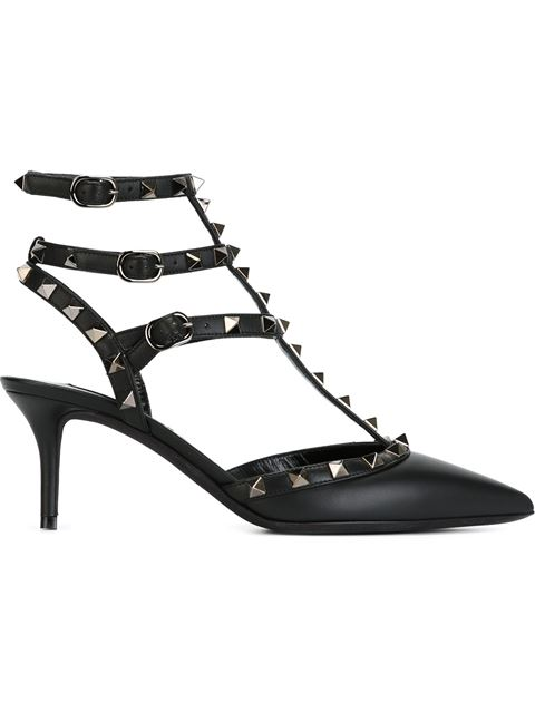 Valentino Rockstud 65 Patent-Leather Heeled Courts In Black