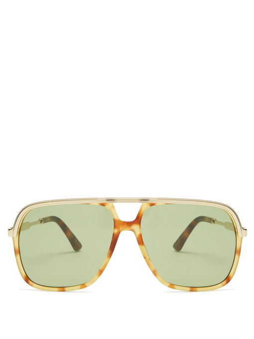 d14a9e97e72 Gucci Aviator-Style Tortoiseshell Acetate And Gold-Tone Sunglasses In Multi