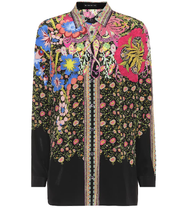 Etro Floral Paisley Print Silk Shirt In Multicoloured