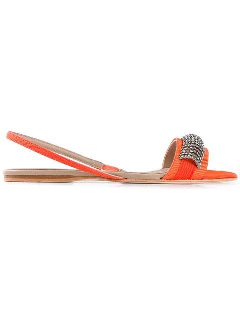 Anna Baiguera Embellished Strap Sandals In Orange