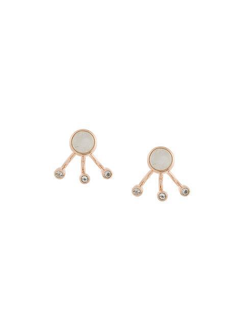 Pamela Love Three Gravitation Moonstone And White Topaz Earrings - Metallic