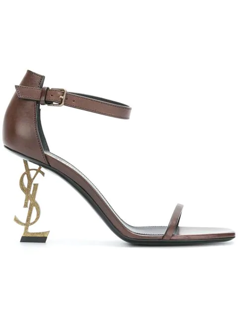 32965a6a0d8 Saint Laurent Opyum Sandals In Leather With Gold-Toned Heel In Brown ...