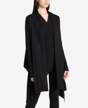 Dkny Open-Front High-Low Cozy Cardigan In Black
