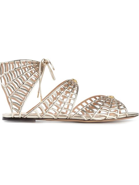 Charlotte Olympia Woman Miss Muffet Metallic Leather Sandals Neutral In Champagne