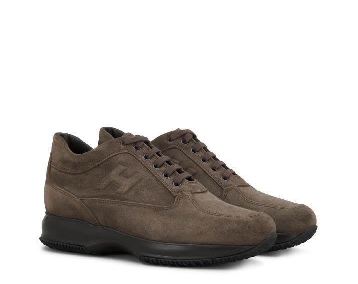 Hogan Interactive Suede Sneakers In Dark Mud