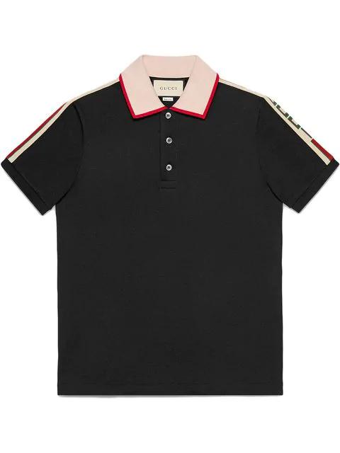 4adf5d7204b5 Gucci Logo-Web Cotton-Blend PiquÉ Polo Shirt In 1106 Black/Milk/Live ...