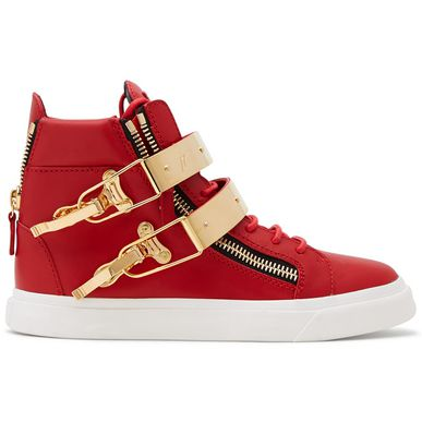 Giuseppe Zanotti Ski Double Bangle Leather High-Top Trainers In Red