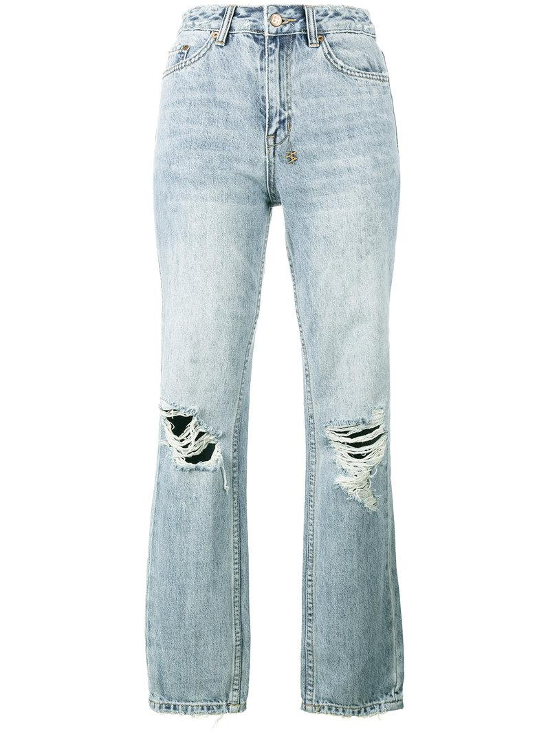 cheapest sale catch drop shipping The Slim Pin High Waist Ripped Jeans in Blue