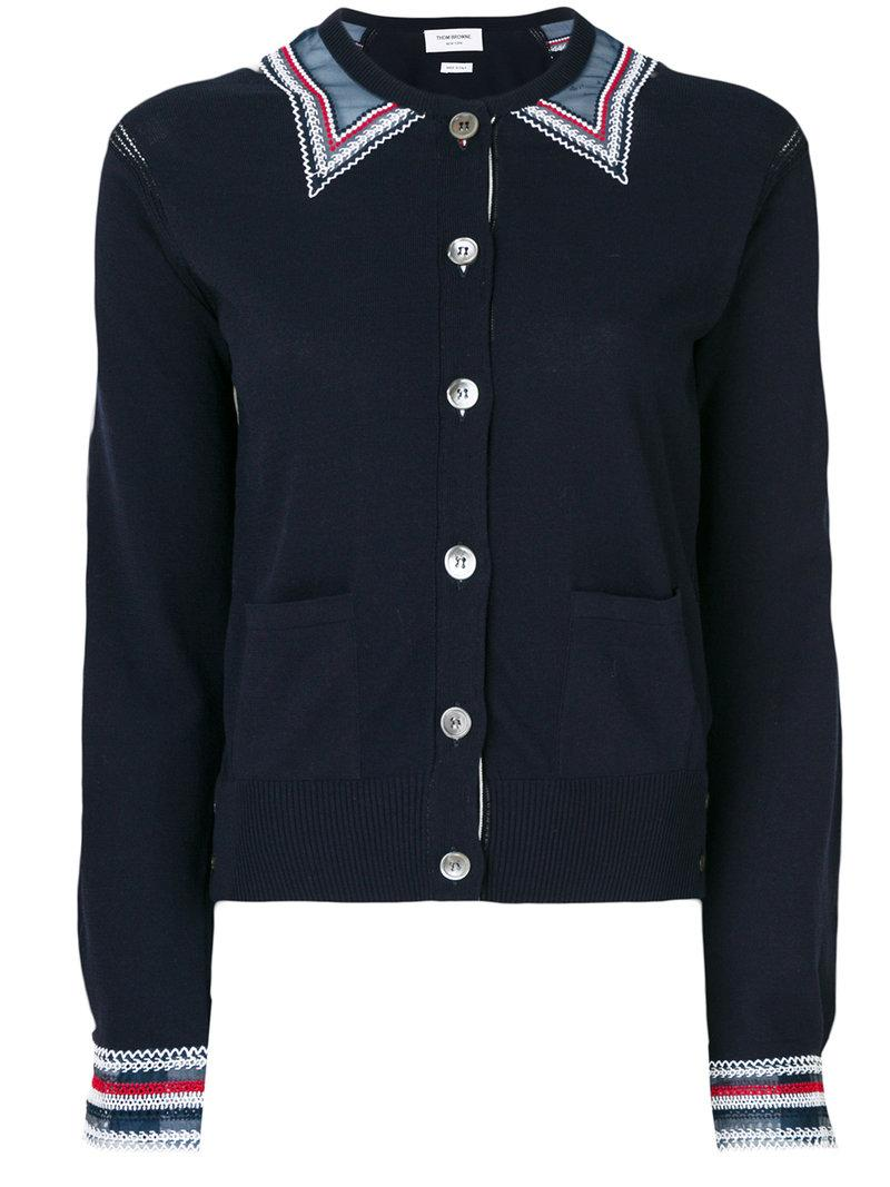 Thom Browne Embroidered Cardigan In Blue