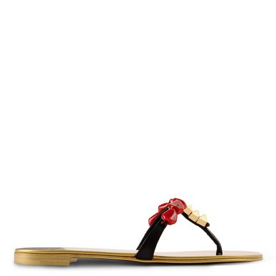 Giuseppe Zanotti Brown And Gold Stone Embellished Toe Thong Sandals In Dark Brown