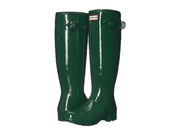 Hunter Ladies Green Waterproof Original Gloss Tall Rain Boots In  Green