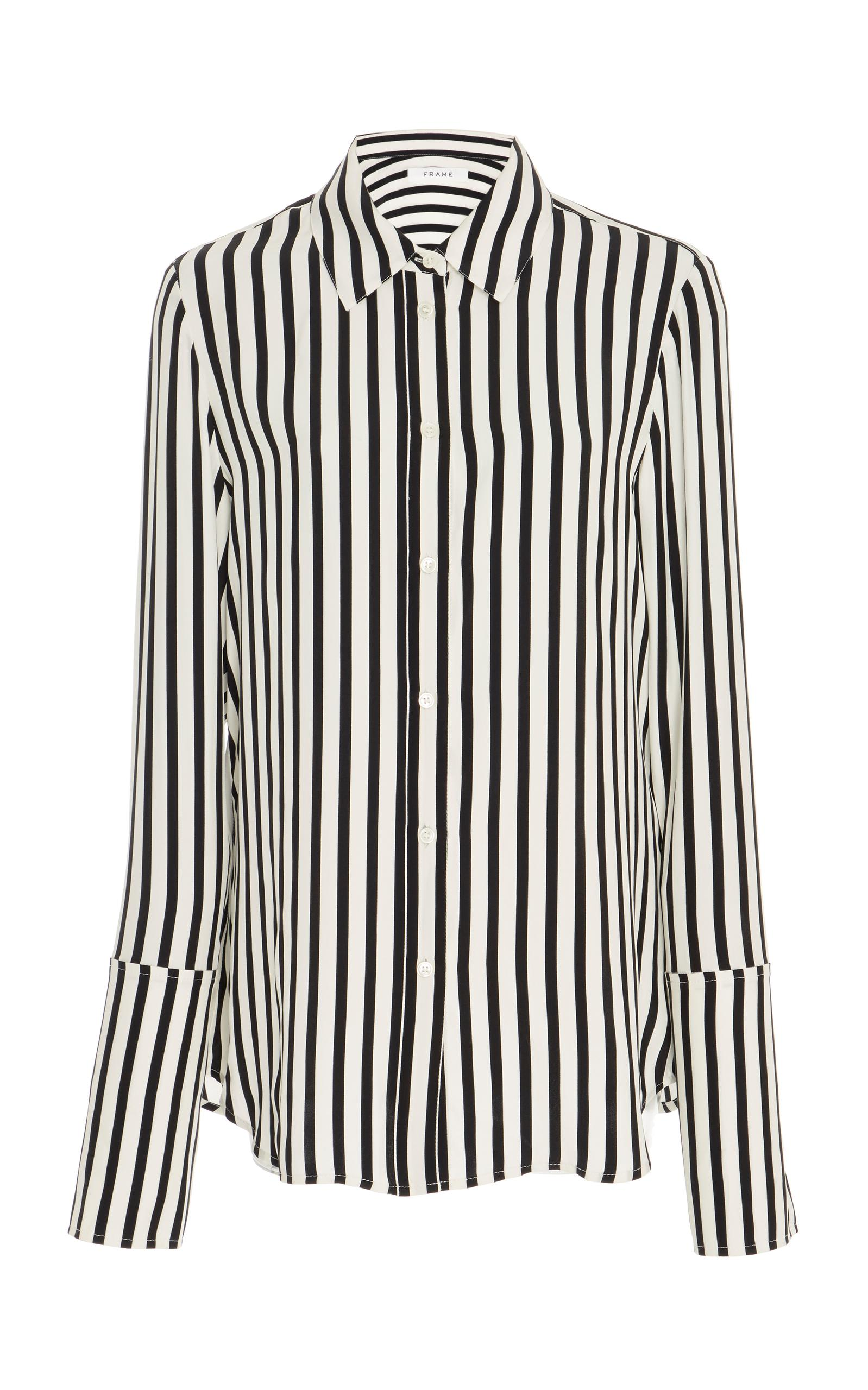 40de0821f7bb60 Frame Long-Sleeve Striped Silk Pajama Blouse In Black | ModeSens