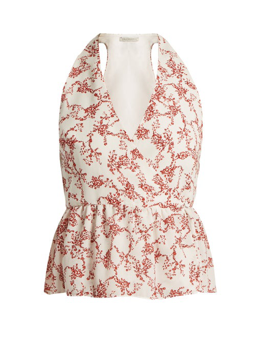 4de4522e0cb6ad Emilia Wickstead Lucie Floral-Print Crepe Peplum Wrap Top In Red ...