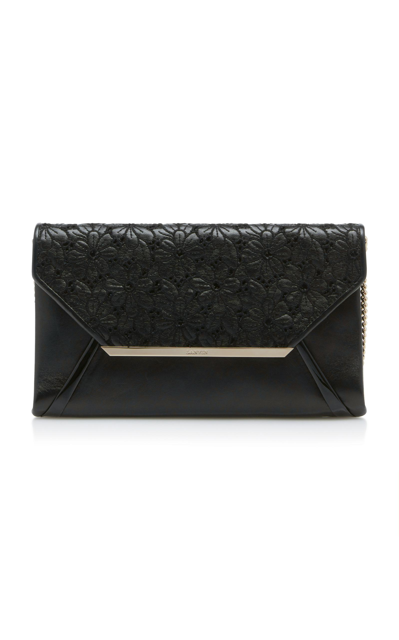 Lanvin Pochette Floral-Appliqued Leather Clutch In Black