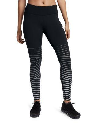 706602e89b39a1 Nike Power Epic Lux Metallic Striped Dri-Fit Stretch Leggings In  Black/Anthracite