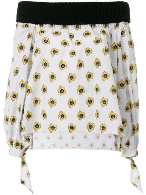 Sara Roka Printed Off Shoulder Blouse In Multicolour
