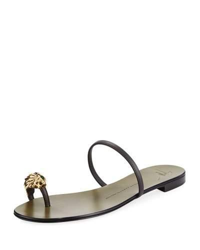 Giuseppe Zanotti Lion Head Leather Flat Sandal, Brown In Dark Brown
