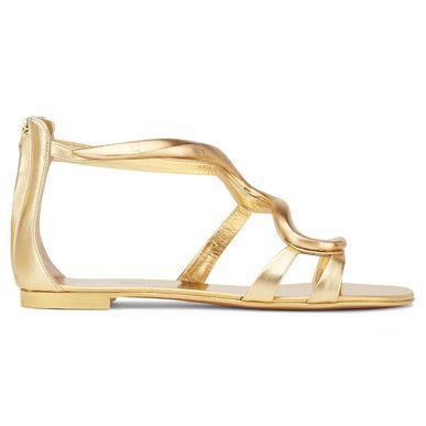 Giuseppe Zanotti Curved Bar Sandals In Gold
