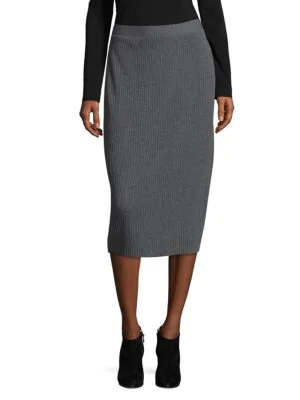 Eileen Fisher Ribbed Wool Pencil Skirt In Ash