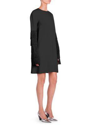 4bb9c4c2056 Stella Mccartney Fringe Sleeve Stretch Cady Dress In Red