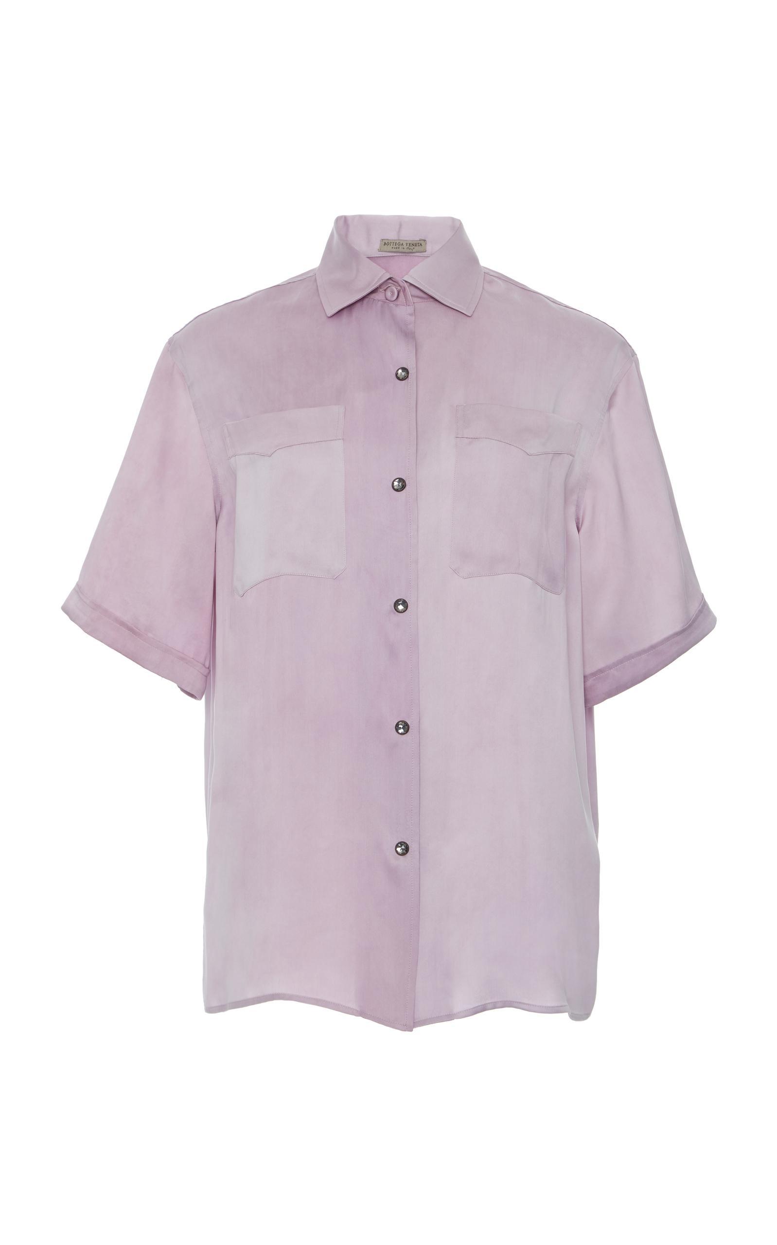 84482107d05215 Bottega Veneta Washed Silk Faded Short Sleeve Blouse In Pink | ModeSens