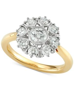 Marchesa Diamond Floral Engagement Ring (1-1/3 Ct. T.W.) In 18K Gold, Created For Macy's In Yellow Gold