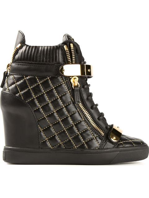 Giuseppe Zanotti Wedge Hi-Top Sneakers In Black