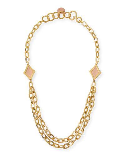Stephanie Kantis Illumination Link Statement Necklace In Yellow/Pink