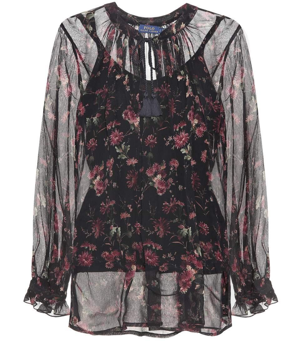 4a0df9fdf Polo Ralph Lauren Floral-Printed Silk Top In Black | ModeSens