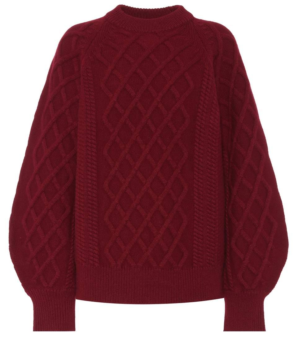 Victoria Beckham Cable-Knit Wool Sweater In Red