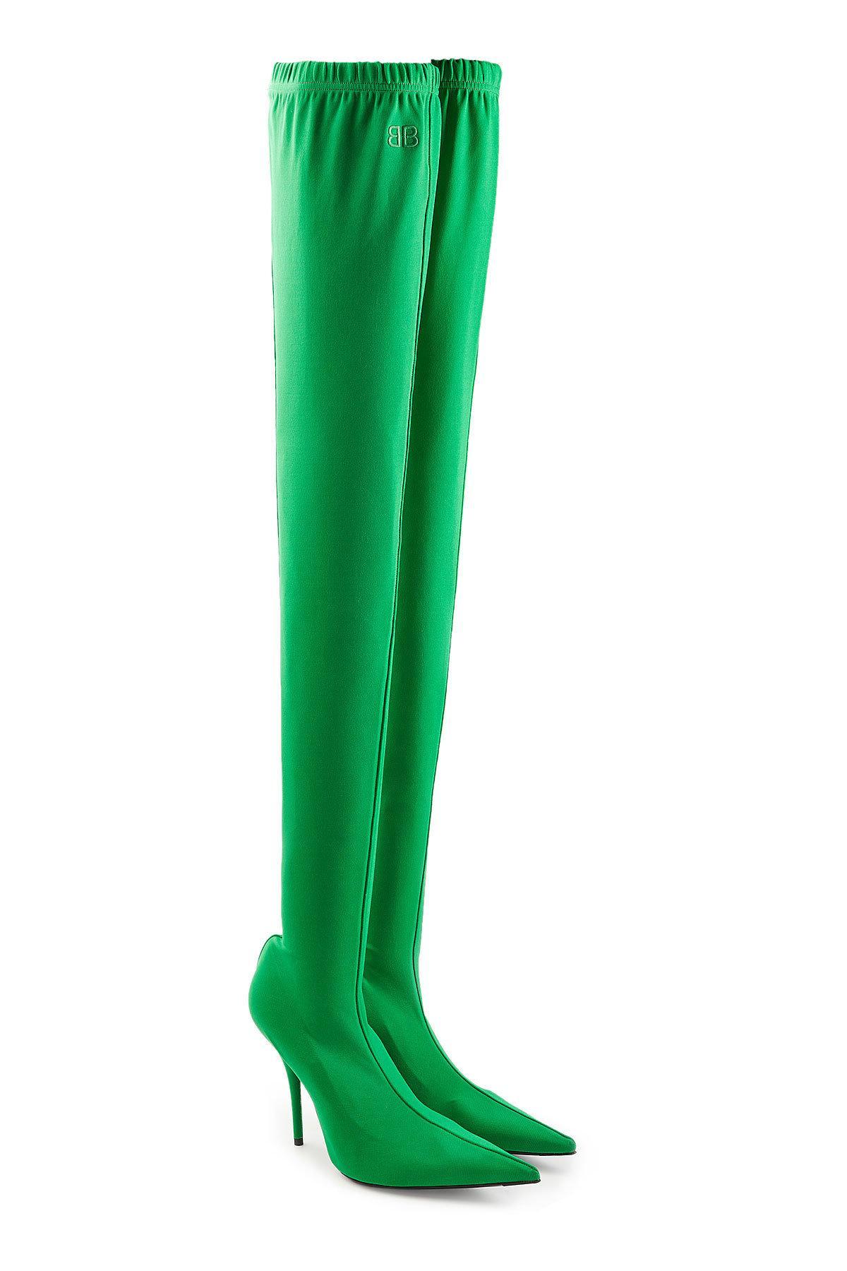 Balenciaga Thigh-High Stiletto Boots In Green