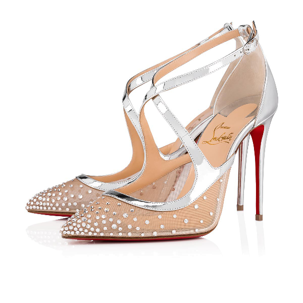 223597e25d26 Christian Louboutin Twistissima Strass 100 Metallic Leather Pumps In  Version Crystal