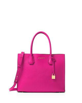 3246cc121f93 Michael Michael Kors Studio Mercer Convertible Large Leather Tote In  Raspberry/Gold